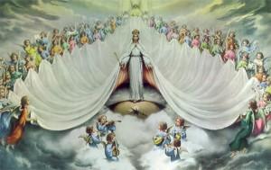 La Virgen acompañada de ángeles